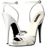 Hvid 15 cm DOMINA-108 fetish sandaler med stilethæl