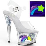 Hvid 18 cm MOON-708RSS Neon plateau high heels sko