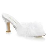 Hvid 7,5 cm FLAPPER-01F Marabou fjer Høje Slip in sko