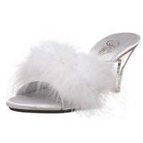 Hvid 8 cm BELLE-301F Marabou fjer Høje Slip in sko
