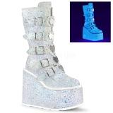Hvid Glitter 14 cm SWING-230G cyberpunk plateaustøvler