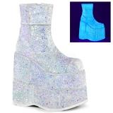 Hvid Glitter 18 cm STACK-201G Plateau Ankelstøvler til Mænd