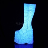 Hvid Glitter 18 cm STACK-301G demonia støvler - unisex cyberpunk støvler