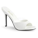 Hvid Kunstlæder 10 cm CLASSIQUE-01 store størrelser mules dame