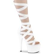 Hvid Kunstlæder 18 cm ADORE-700-48 høje hæle med ankel snørebånd