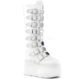 Hvid Kunstlæder 9 cm DAMNED-318 plateau damestøvler med spænder
