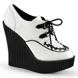 Hvid Kunstlæder CREEPER-302 wedges creepers sko med kilehæle