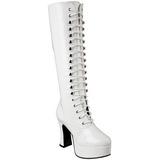 Hvid Lak 10,5 cm EXOTICA-2020 Høje Dame Støvler med Snøre