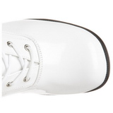 Hvid Lak 5 cm RETRO-302 Høje Dame Støvler med Snøre