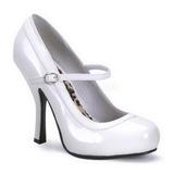 Hvid Lakeret 12 cm rockabilly PRETTY-50 dame pumps med lave hæl