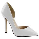 Hvid Lakeret 13 cm AMUSE-22 klassisk pumps sko til damer