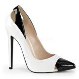 Hvid Lakeret 13 cm SEXY-22 klassisk pumps sko til damer