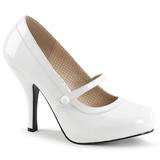 Hvid Laklæder 11,5 cm PINUP-01 store størrelser pumps sko