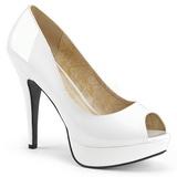 Hvid Laklæder 13,5 cm CHLOE-01 store størrelser pumps sko