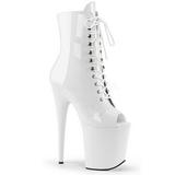 Hvid Laklæder 20 cm FLAMINGO-1021 ankelstøvler damer med plateausål