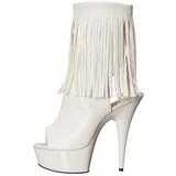 Hvid Mat 15 cm DELIGHT-1019 ankelstøvler til damer med frynser