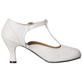 Hvid Mat 7,5 cm retro vintage FLAPPER-26 dame pumps med lave hæl