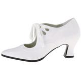 Hvid Mat 7 cm retro vintage VICTORIAN-03 dame pumps med lave hæl