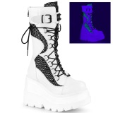 Hvid Neon 11,5 cm SHAKER-70 cyberpunk plateaustøvler