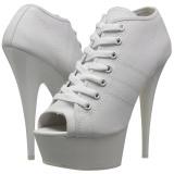 Hvid Neon 15 cm DELIGHT-600SK-01 canvas sneakers med høje hæle