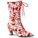 Hvid Rød 7 cm VICTORIAN-120BL Dame Ankel Støvler med Snørebånd