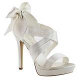 Hvid Satin 12 cm LUMINA-29 højhælede sandaler til kvinder