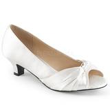 Hvid Satin 5 cm FAB-422 store størrelser pumps sko