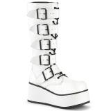 Hvid Vegan 8,5 cm TRASHVILLE-518 demonia støvler - unisex plateaustøvler