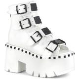 Hvid Vegan 9 cm ASHES-70 lolita plateau ankelstøvler med blokhæl til kvinder