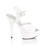 Hvide høje hæle 15 cm DELIGHT-608N JELLY-LIKE stræk materiale plateau høje hæle