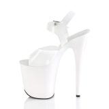 Hvide høje hæle 20 cm FLAMINGO-808N JELLY-LIKE stræk materiale plateau høje hæle