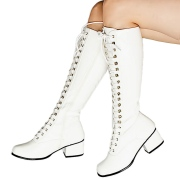Hvide lakboots snørestøvler 5 cm - patent 70 erne hippie disco gogo lakstøvler