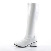 Hvide laklæder støvler blokhæl 5 cm - 70 erne hippie disco boots knæhøje - patent læder støvler