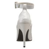 Hvide lakpumps 13 cm SEDUCE-431 Ankelrem pumps med høje hæle