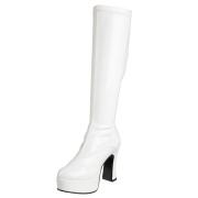 Hvide plateaustøvler laklæder patent 13 cm - 70 erne hippie disco plateauboots knæhøje