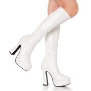 Hvide plateaustøvler vinyllæder vinyl 13 cm - 70 erne hippie disco plateauboots knæhøje