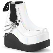 Hvide vegan boots 13 cm VOID-50 demonia støvler med kilehæle