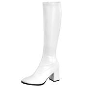 Hvide vinyl støvler blokhæl 7,5 cm - 70 erne hippie disco gogo knæhøje boots