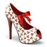 Kirsebær Hvid 14,5 cm TEEZE-25-3 damesko med høj hæl