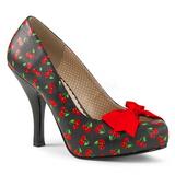Kirsebær Mønster 11,5 cm PINUP-05 store størrelser pumps sko