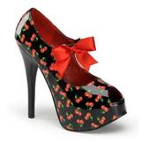 Kirsebær Sort 14,5 cm Burlesque TEEZE-25-3 damesko med høj hæl