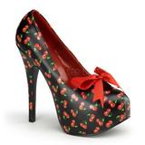 Kirsebær Sort 14,5 cm TEEZE-12-6 damesko med høj hæl