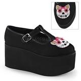 Kitty lærred 8 cm CLICK-04-1 gothic plateausko lolita sko tykke såler