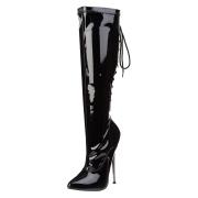 Knæhøje lakstøvler med metalhæl 16 cm spidse damestøvler med stiletter hæle