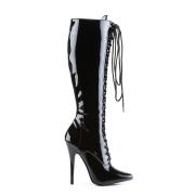 Knæhøje lakstøvler snørestøvler 16 cm spidse damestøvler - stilethæle snøreboots