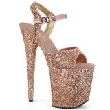 Kobber 20 cm FLAMINGO-810LG glitter plateau high heels sko