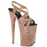 Kobber 23 cm INFINITY-930LG glitter plateau high heels sko