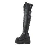 Kunstlæder 11,5 cm SHAKER-350 Overknee støvler med kilehæle plateau