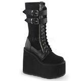 Kunstlæder 14 cm SWING-221 lolita støvler gothic plateau tykke såler