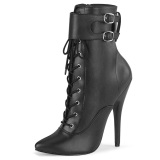 Kunstlæder 15 cm DOMINA-1023 Sorte ankelstøvler med stilethæl